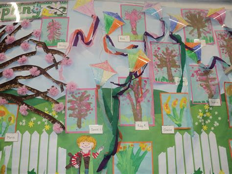 art colour kites colour flowers trees classroom display
