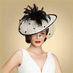 Chapeau Anglais Femme Mariage : petit chapeau femme mariage original lat ral fleur noire en lin blanc avec serre t te cheveux ~ Maxctalentgroup.com Avis de Voitures