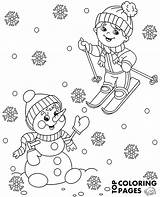 Coloring Winter Skiing Boy Pages Printable Snowman Topcoloringpages Print Sheets Books Children Library sketch template