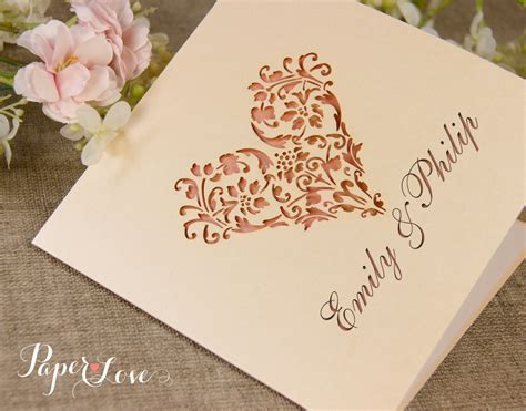 personalised gatefold laser cut wedding day evening
