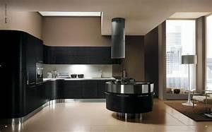 Cuisine noir design for Deco cuisine avec chaise design noir
