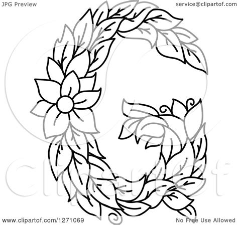 letter g clipart black and white clipart of a black and white floral capital letter g with