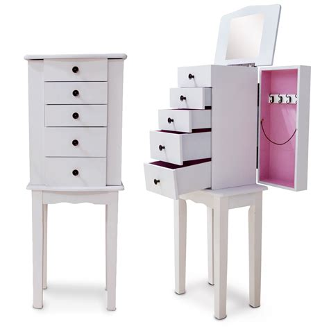 Wooden Mirrored Jewelry Cabinet Armoire Makeup Box