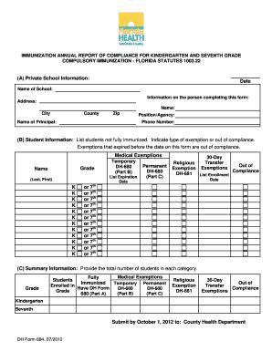florida certification immunization form florida immunizations shots dh 680 forms download pdf