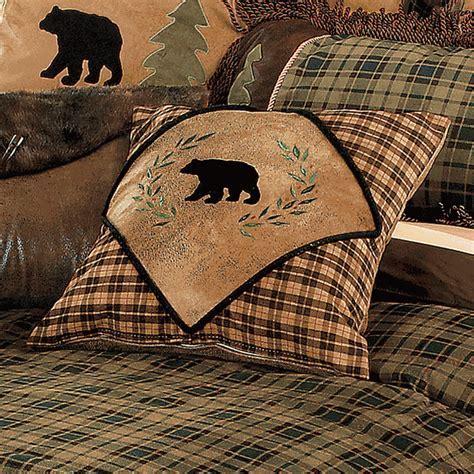 Rustic Bedding: Alpine Bear Diamond Bear Pillow Black