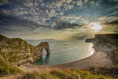 Durdle Door Sunset England Sea Dorset Jurassic