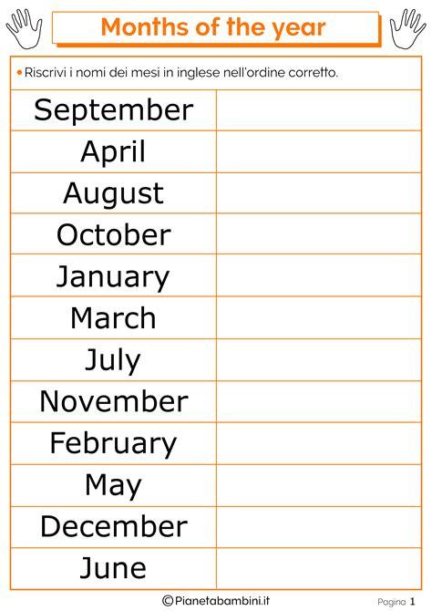 mesi  inglese  bambini schede didattiche da