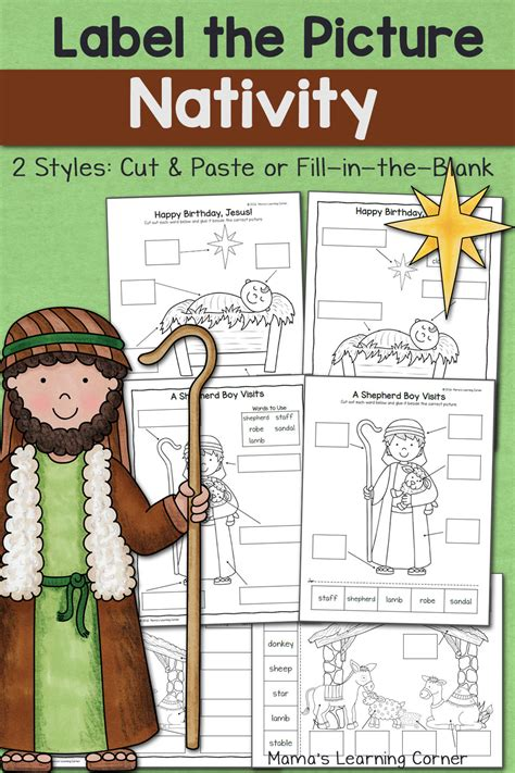 nativity label  picture worksheets mamas learning corner