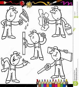 Cartoon Workers Set For Coloring Book Stock Image