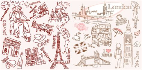 Vector line drawing of Paris and London Vectors Download   Crazy Free vector.com