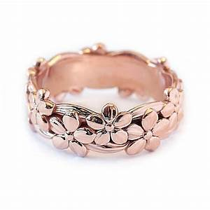 floral wedding band 14k gold band ring flower wedding band With flower wedding rings