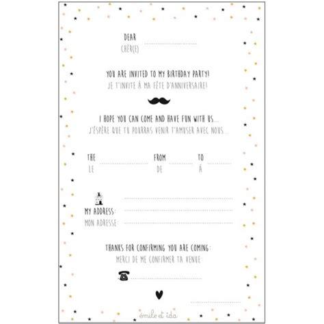 Carte Anniversaire Fille by Carte D Invitation Anniversaire Fille Emile Ida