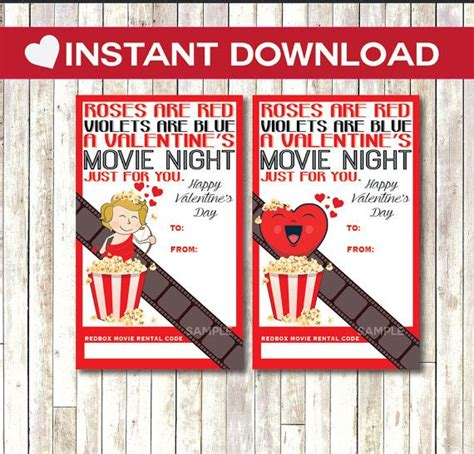 Redbox Gift Card Tag Printable INSTANT DOWNLOAD Valentine ...