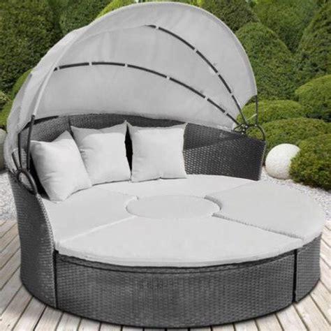 canapé en rond canape de jardin rond modulable gris en résine tressée