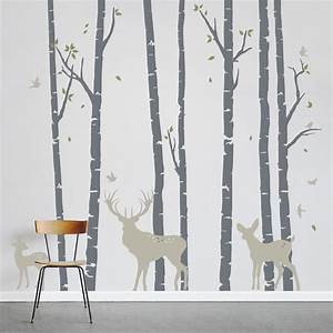 Add a little nature to your decor birch trees forest with for White birch tree wall decal decorations