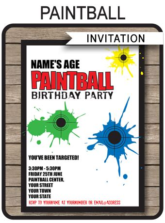 paintball party invitations birthday party template
