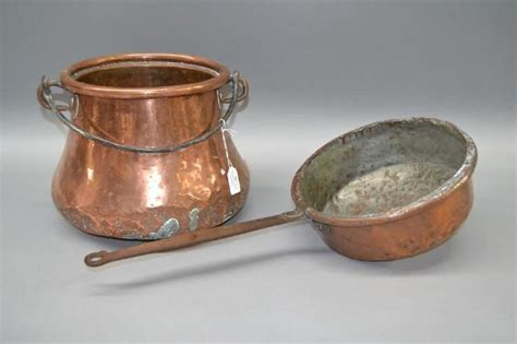 antique  century french copper pot  iron swing handle copper metalware