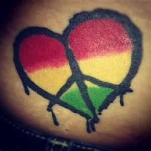One Love Rasta Tattoo | pin heart peace rasta tattoo ...