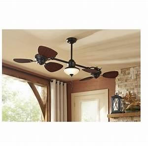 Quot indoor outdoor ceiling fan dual heads light kit