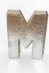 Silver and gold glitter cardboard letter decor a z and 1 9 for Gold cardboard letters
