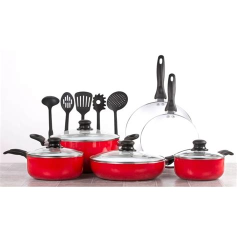 shop  piece ceramic cookware set cooking set wcooking utensils red  shipping today