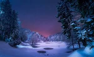 Night, Landscape, Snow, Ice, Winter, Trees, Nature