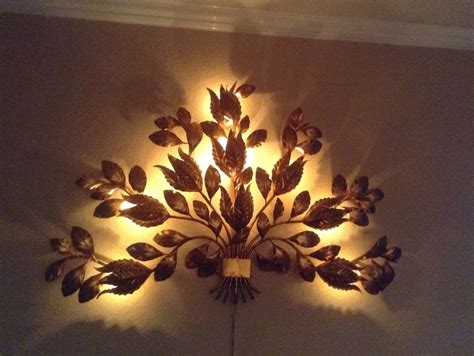 mid century italian sconce gold metal gilt flowers l