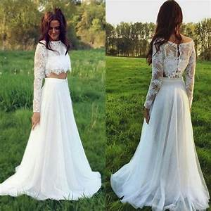 stunning two pieces lace 2016 wedding dresses plus size With plus size 2 piece wedding dresses