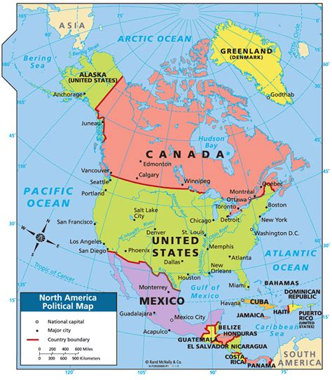 north america physical map labeled  travel information