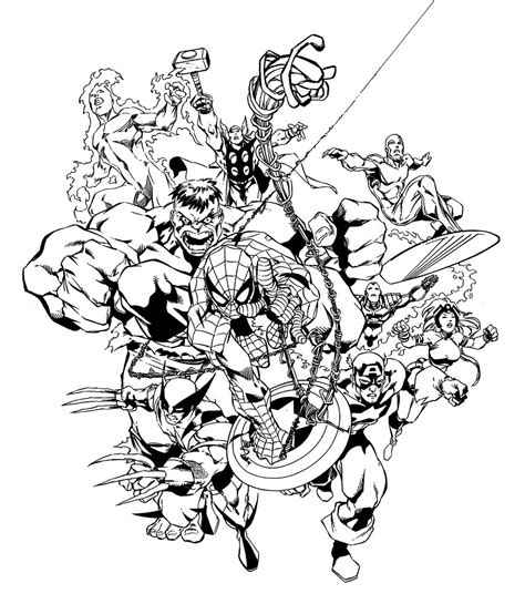 marvel heroes by carlos pacheco b w images avengers
