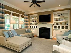 classic simple family room rebecca driggs hgtv With family room design ideas
