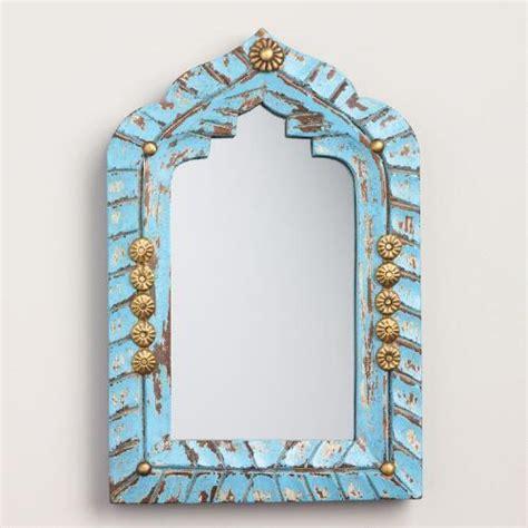 mini blue carved wood mirror