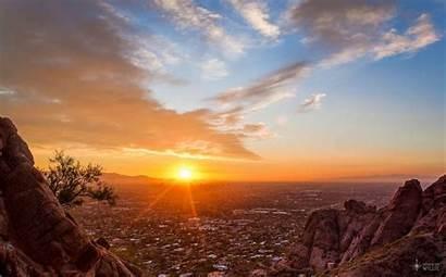 Phoenix Arizona Sunset Mountain Wallpapers Burning Camelback