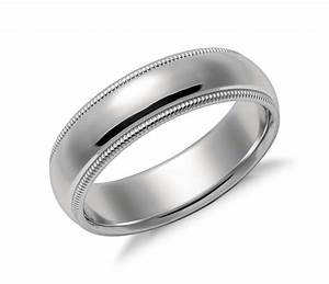 milgrain comfort fit wedding ring in platinum 6mm blue With milgrain wedding ring