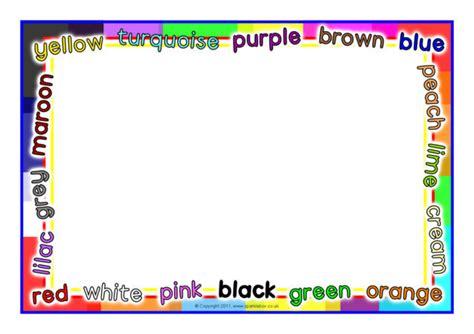 colour themed  page borders sb sparklebox