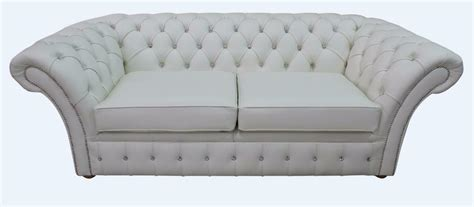 White Leather Settee by Chesterfield Balmoral Diamante 3 Seater White