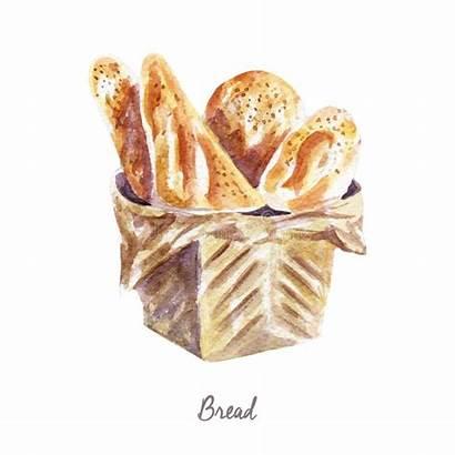 Clipart Bread Watercolor Bakery Illustration Illustrations