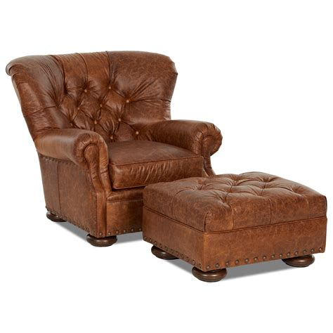 klaussner aspen tufted leather chair  ottoman set