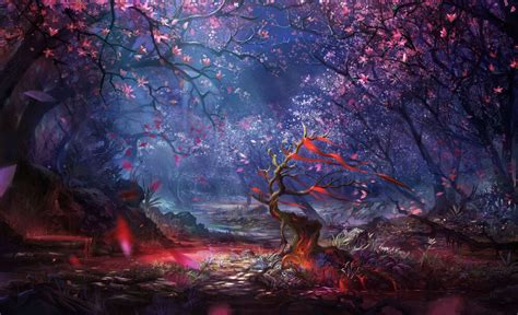 Anime Wallpaper Drawing by Framed Print Tale Enchanted Forest
