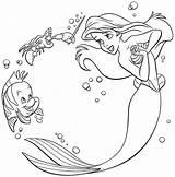 Ariel Coloring Mermaid Printable Disney Princess sketch template