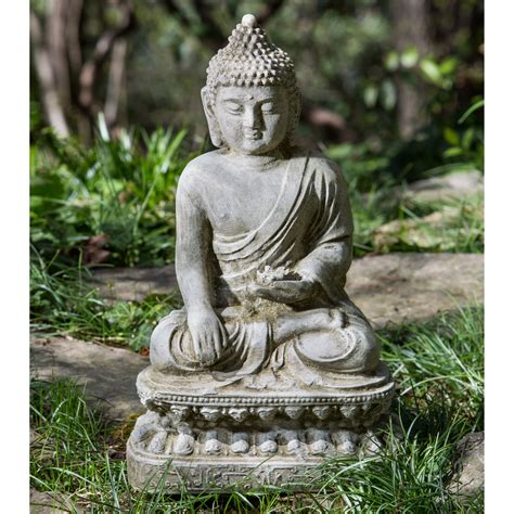 campania international seated lotus buddha garden statue
