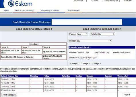 Eskom Load Shedding Schedules