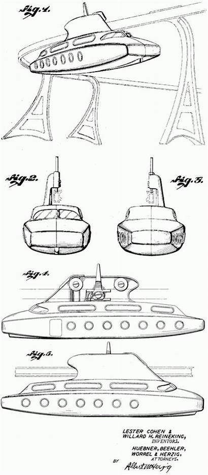 Monorail Toy Patent Trains Drawing Drawings Train