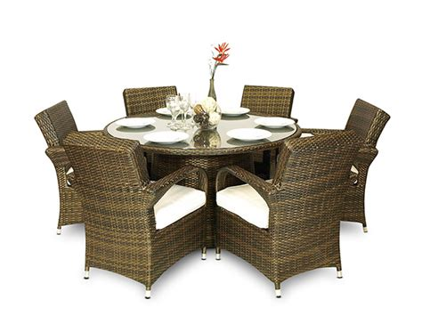 arizona rattan wicker 6 seater garden dining table chair