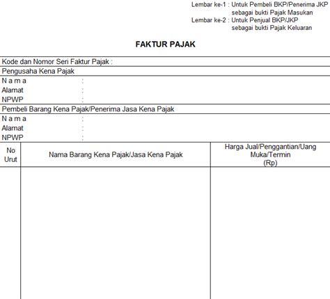 contoh formulir faktur pajak ppn gontoh