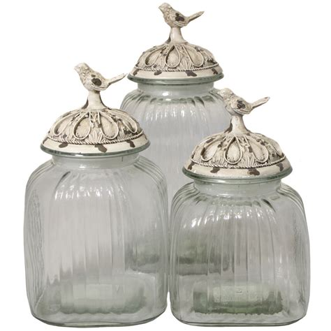 glass kitchen canister set casa cortes antique white songbird 3 glass