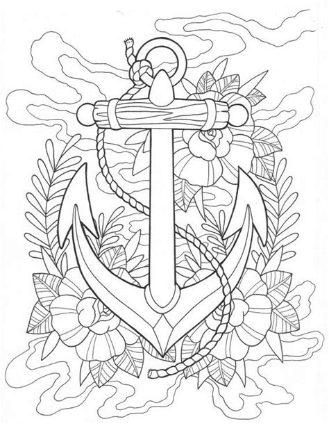 Anchor tattoo coloring Page Digital Download | Coloring