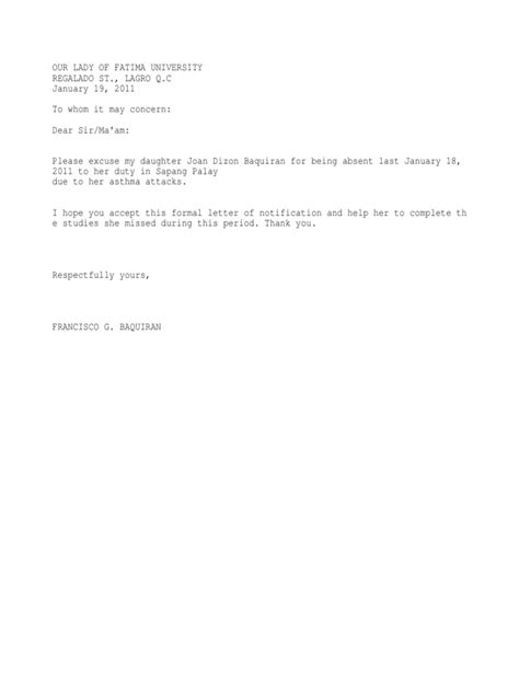 excuse letter for school exles of excuse letters for jury duty exle of an
