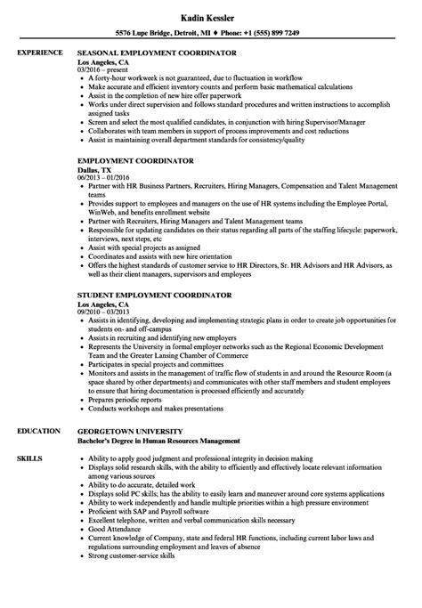 Coordinator Resume by Employment Coordinator Resume Sles Velvet
