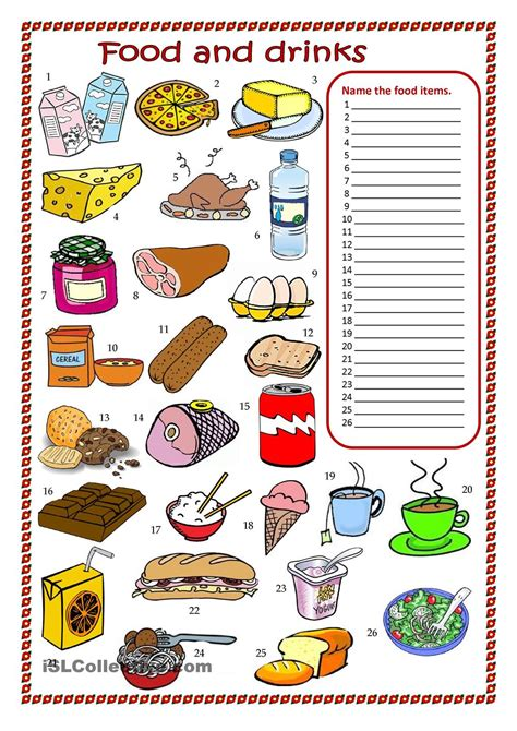 food vocabulary worksheet new image result for